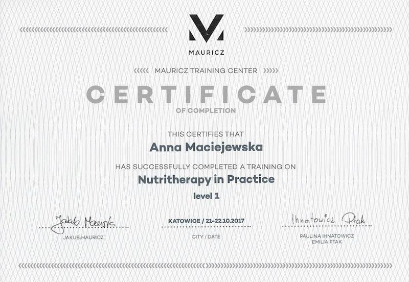 Anna Maciejewska certyfikat nutritherapy poziom 1