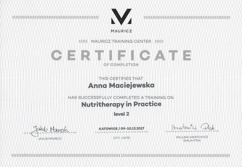 Anna Maciejewska certyfikat nutritherapy poziom 2