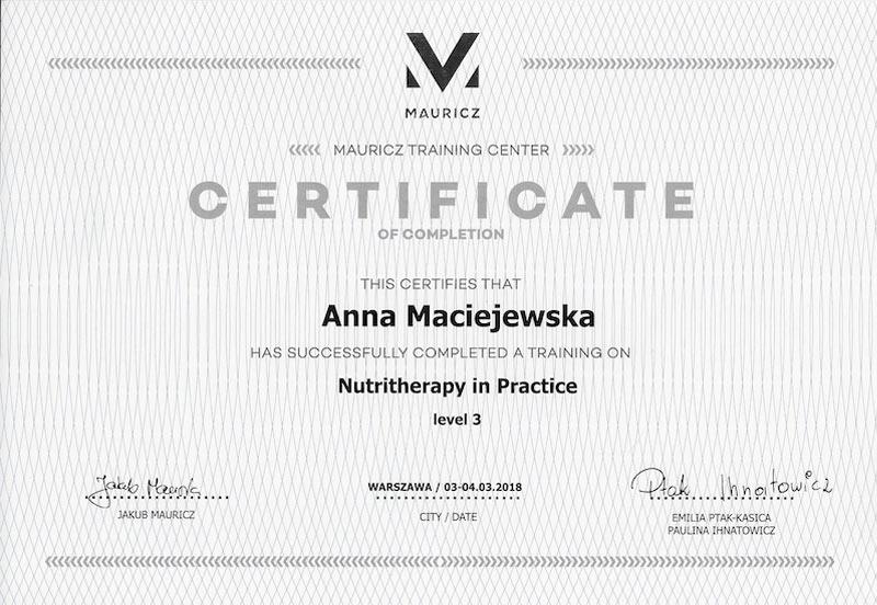 Anna Maciejewska Certyfikat nutritherapy