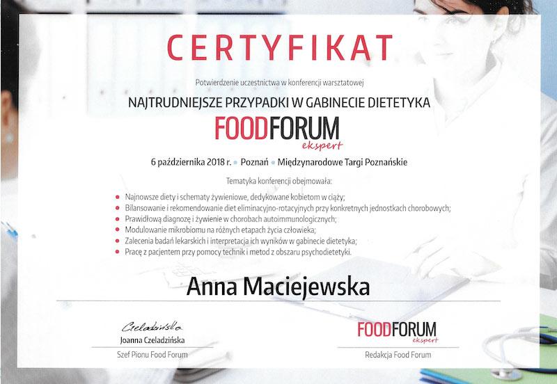 Certyfikat FoodForum Anna Maciejewska