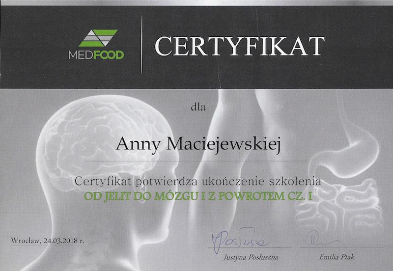 Certyfikat Od jelit do mózgu Anna Maciejewska