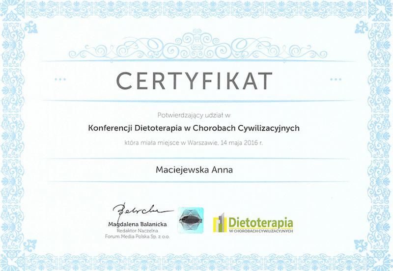Certyfikat Dietoterapia w chorobach cywilizacyjnych Anna Maciejewska
