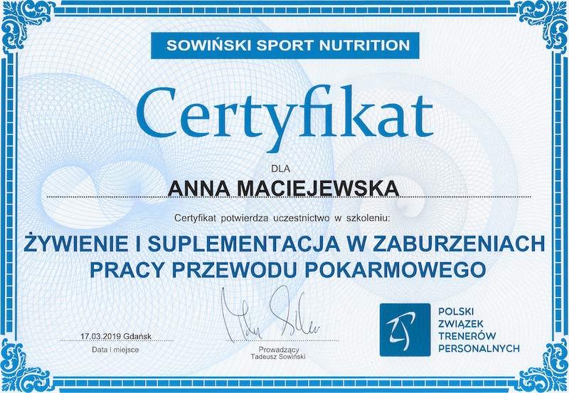 Certyfikat Anna Maciejewska Zaburzenia pracy układu pokarmowego