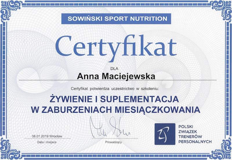 Certyfikat Anna Maciejewska Zaburzenie Miesiączkowania